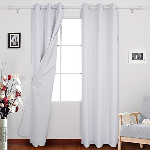 Deconovo Window Curtains Thermal Insulated Grommet Faux Dupioni Silk Blackout Curtains With Coating Back Layer for Nursery Room 38x95 Inch Set of 2 White (Dupioni Curtains)