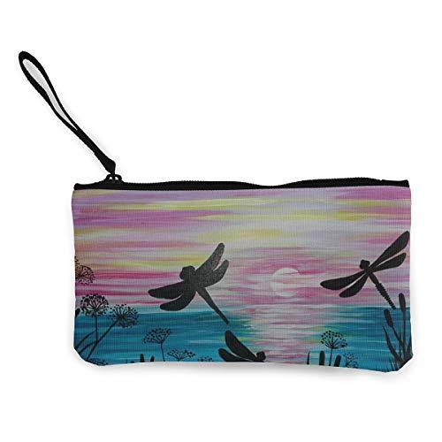 Wristlet Clutch Wallet Ladies Wedding Party Long Purse Cute Dragonfly Painting Art Canvas Coin Purse Handbag