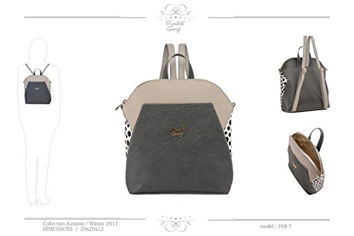Elizabeth George Damen Rucksack 768-7 Grau - Anthrazit Damentasche Henkeltasche Tragetasche Schultertasche Shopper Umhängetasche