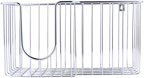 BESPORTBLE Metal Wall Mount Ironing Board Holder with Large Storage Basket Iron Holder for Home Office Silver