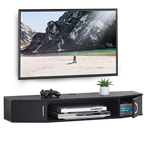 FITUEYES Wall Mounted TV Media Console Floating Desk Storage Hutch for Home and Office DS211001WB (Tv Mounted Table Console Wall For)