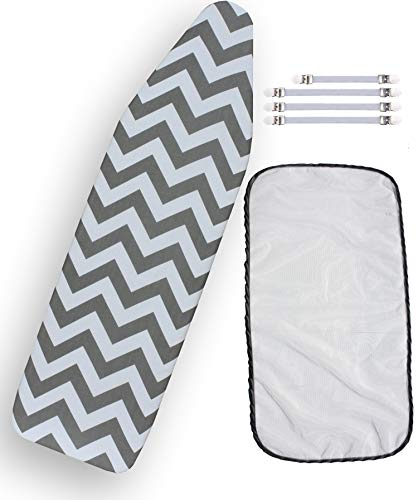 Bundle 3 Items: 1 U.S. Standard Size, Extra Thick Felt Pad, Heat Resistant, and Scorch Resistant Cover Chevron Style, 4 Fasteners and 1 Large Protective Scorch Mesh Cloth ()