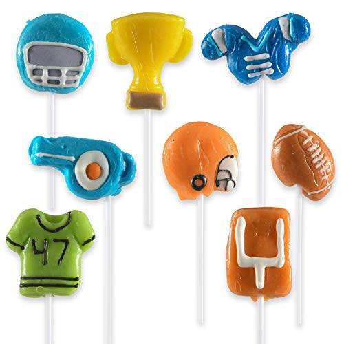 Prextex 8 Football Themed Lollipops - Kids Sports Ball Suckers for Birthday, Sports Events or Football Party Favor]()
