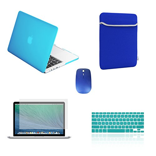 TOP CASE - 5 in 1 Bundle Deal Pro 13-Inch Ultra Slim Light Weight Rubberized Hard Case, Keyboard Cover, Screen Protector , Sleeve Bag and Mouse Compatible with Apple Old Generation MacBook Pro A1278 - Aqua Blue by TOP CASE