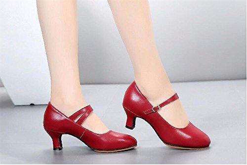 SQIAO-X- Ballo latino _ scarpe di pelle nuova Scarpa danza latino Kraft scarpe da ballo Square Dance Scarpe Donna fondo morbido, High-Heeled, vino rosso (5,5 cm),39