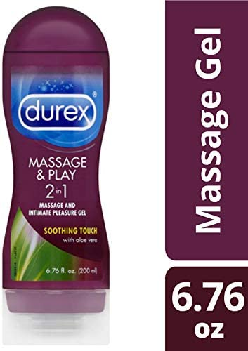 Durex Massage & Play 2 in 1 Lubricant, 6.76 fl. oz. Soothing Touch with Aloe Vera. Lube & Massage Gel in 1 (Pack of 6)