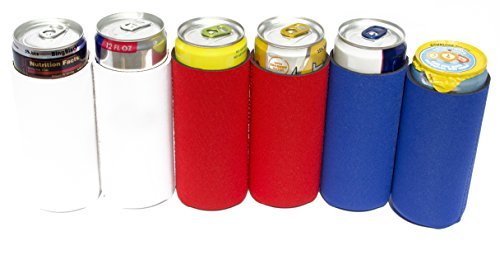 Knot Board Sports Slim Ultra Cans Beverage Insulators, Blue Coolie Fits Michelob Ultra, Tall Co oz.ie Set Of 6, Can Neoprene Sleeves, Beverage Coolers, Pack Of Six. Blank, Red, White, (Knot Board)