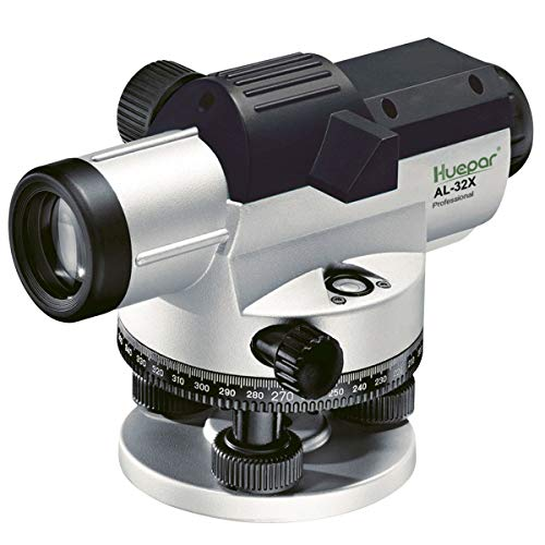 (Huepar 32x Automatic Optical Level with Self-Leveling Magnetic Dampened Compensator, Height/Distance/Angle Measuring Tool, 120m Working Range, 1.6mm/30m leveling Accuracy with Hard Case)