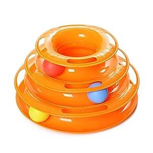 Yommy Juguete Mascotas para Gatos Juego para Gatos Juguetes Interactivo Juguete de Atracciones Plate Trilaminar Bola Torre de Pistas YM-1366(Naranja)