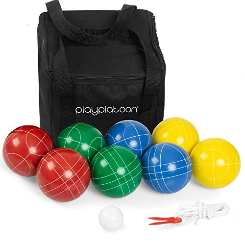 Play Platoon Bocce Ball Set with 8 Premium Resin Bocce Balls, Pallino, Carry Bag & Measuring Rope by Play Platoon