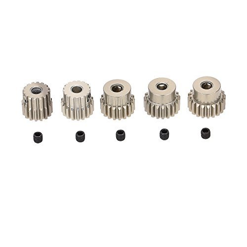 Pinion Gear Set (GoolRC 48DP 3.175mm 16T 17T 18T 19T 20T Pinion Motor Gear for 1/10 RC Car Brushed Brushless Motor)