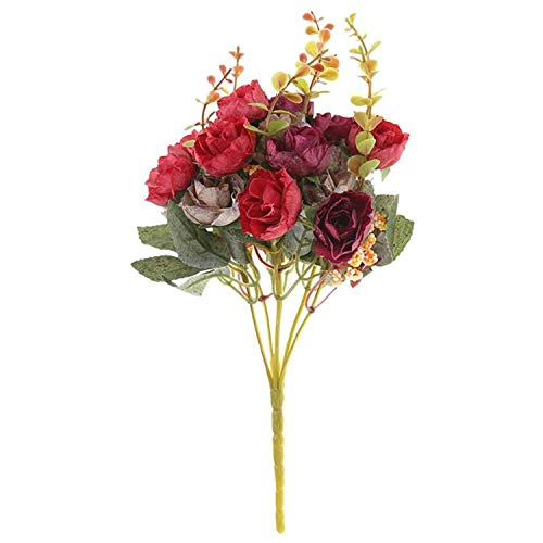 New 21 Heads/Bouquet Silk Rose European Style Artificial Flower Bouquet Fake Flowers Wedding Home Party Decoration Dark Red ()