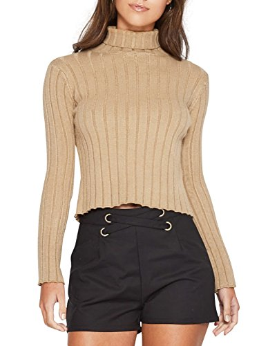 Glamaker Women's Casual Pullover Turtleneck Knit Sweater Knitted with Long Sleeves Light Tan (Turtleneck Tan Sweater)