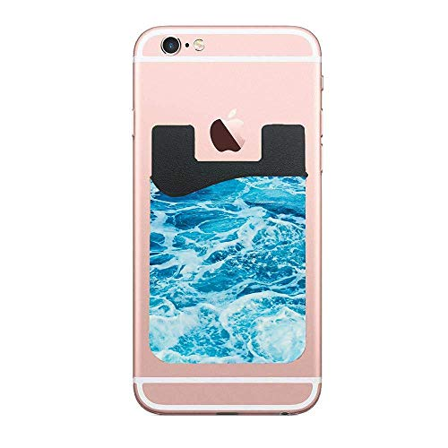 ZninesOnhOLD Aqua Blue Stick On Card Holder Wallet, Credit Card Phone Wallet Case for Any iPhone or Android