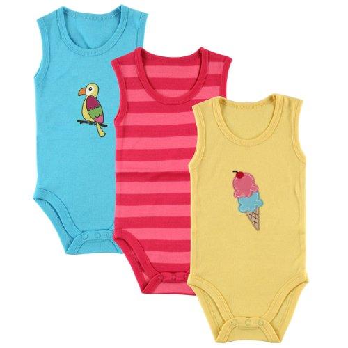 Girls Sleeveless Bodysuit (Hudson Baby Hanging Bodysuits 3 Pack, Pink, 6-9 Months)