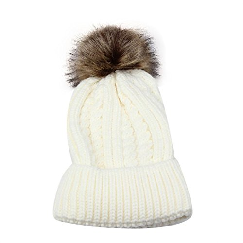 Sikye Women Crochet Wool Knit Beanie Beret Ski Ball Cap Baggy Winter Warm Hat (White)