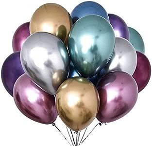 Globos Metalicos,50Pcs látex Balloon,Globos de Cumpleaños,Globos de Helio, Globos Boda,con Bomba para Cumpleaños Decoración Fiesta Aniversario Baby Shower Comunión: Amazon.es: Juguetes y juegos