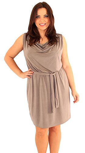 Belted Cowl Neck Dress (New Womens Plus Size Cowl Neck Belted Mini Going Out Dress US14 Mocha)