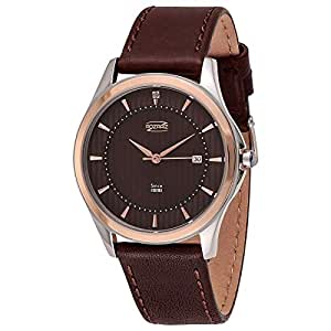 Rozraiz Men's Brown Dial Leather Band Watch - RAZ01702P