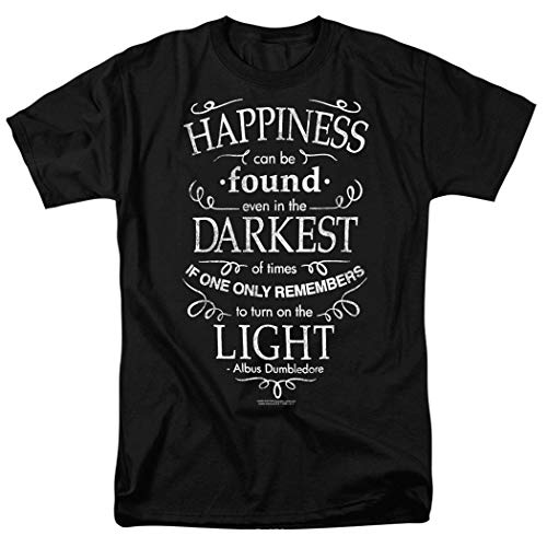 Popfunk Harry Potter Dumbledore Happiness Quote T Shirt & Exclusive Stickers (Medium) Black -