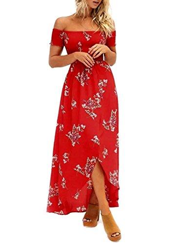 ZESICA Women's Floral Off the Shoulder Split Chiffon Beach Party Maxi Dress