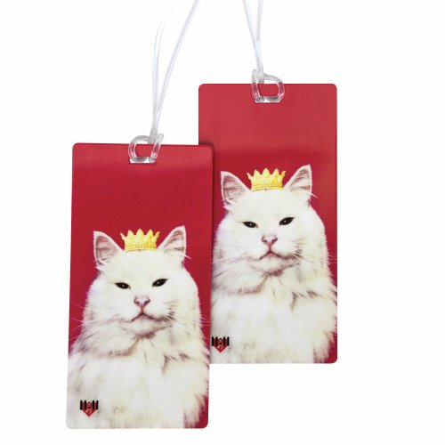 Luggage Tags - Bag Tag Name ID Set for Suitcase, Baggage, with Classic Designs by 11:11 (Princess Kitty Cat 2 PC)