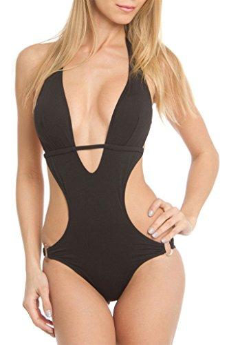 NY Trends Women's Monokini One Piece Swimsuit, GBS33, BLK, XL