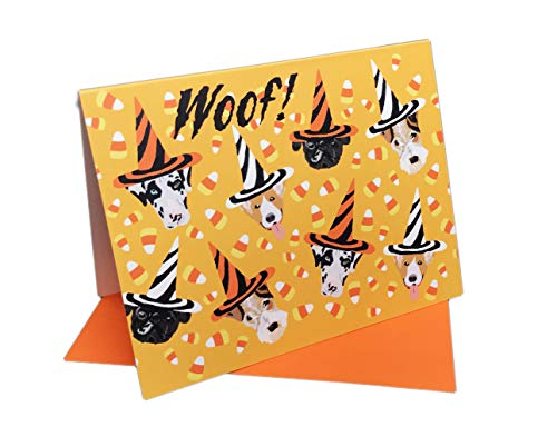 Festive Halloween Candy Corn & Dogs in Witches Hats Set of 10 Greeting Cards & Envelopes