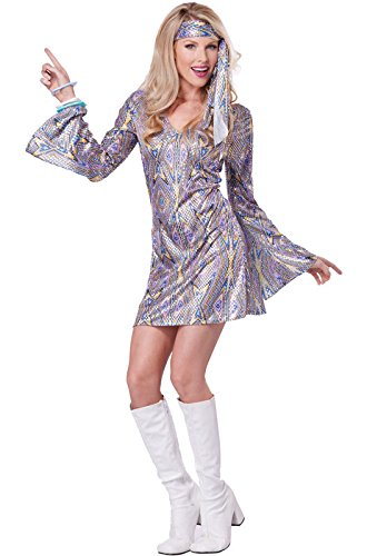 California Costumes Women's Disco Sensation 70's Dance Costume, Purple, Medium (Womens Costumes)