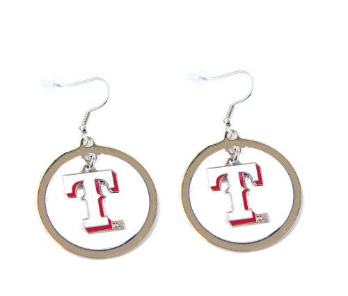 MLB Texas Rangers Floating Logo Hoop Earrings