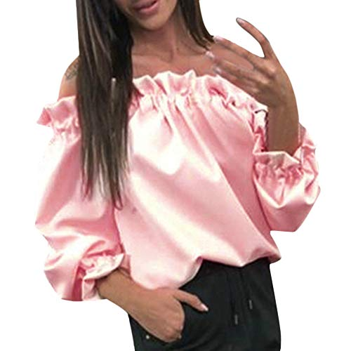 Femme T Haut Rose Manches Chaud Shirt Pullover paules Manches Hiver Subfamily Longues Blouse Longues dnudes weatshirt R5dXwdq