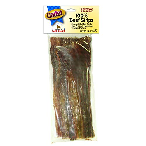 Cadet Butcher Treats 100% Beef Strips For Dogs, 4 Pack