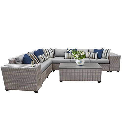 TK Classics FLORENCE-09b 9 Piece Outdoor Wicker Patio Furniture Set