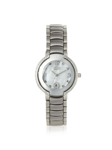 Burgi Mother Of Pearl Dial Silver-Tone Ceramic and Stainless Steel Ladies Watch BUR072SL