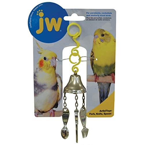 JW Pet Company Activitoy Fork, Knife and Spoon Small Bird Toy, Colors Vary
