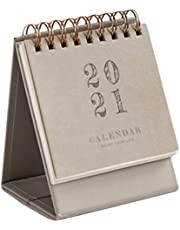 EXCEART Desk Calendar 2021Mini Compact Lightweight Table Calendar for Home Office School Grey 10x8.3x6.5cm