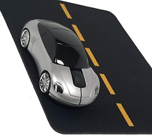 Silver Wireless Sports Car Mouse and Matching Road Mousepad by Match Mouse - USB Optical Mouse and Mousepad Set (Silver)