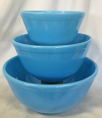 (Nesting Mixing Bowl 3 Piece Set Mosser Glass American Made (Robin Egg Blue))