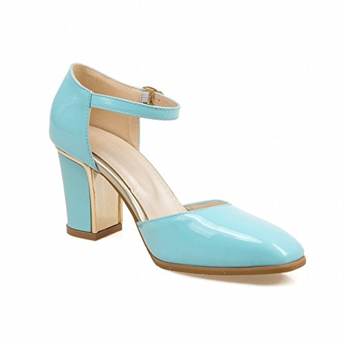 Draagstijl Mode Dames Elegantie Enkelbandje Dans Feestjurk Gesp Dikke Hoge Hak Sandalen Blauw