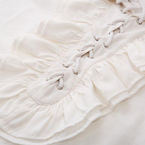 Vola Di Pizzo Medioevale Slaf0014 Uomo Renaissance Camicia Che Darkness Pirata Scarlet Bianco q68OFO