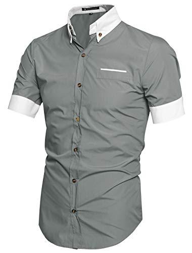 Allegra K Men Short Sleeve Button Down Slim Fit Shirts Light Gray S US 36