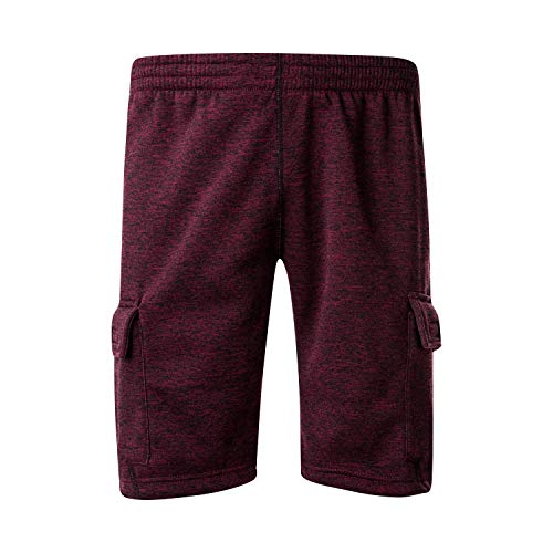 - Asysst Men's Classic Fit Casual Fleece Jogger Gym Workout Short Pants with Nylon Pocket Elastic Waist Burgundy X-Large
