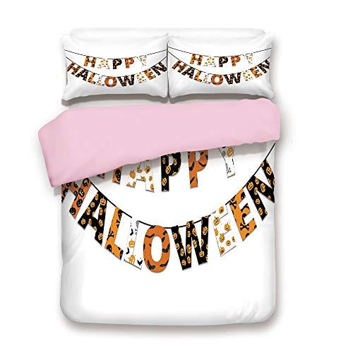 Pink Duvet Cover Set,Twin Size,Happy Halloween Banner Greetings Pumpkins Skull Cross Bones Bats Pennant Decorative,Decorative 3 Piece Bedding Set with 2 Pillow Sham,Best Gift For Girls Women,Orange Bl
