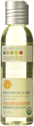 Nature's Baby Organics Baby Oil Lotion, Mandarin Coconut, 4 oz. | Soothing Skin Relief for Babies, Kids, & Adults! Nourishing, Gentle, and Soft | Organic, No Glutens, or Parabens