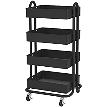 ECR4Kids 4-Tier Metal Rolling Utility Cart - Heavy Duty Mobile Storage Organizer, Black