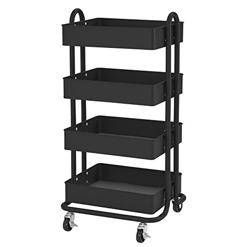 ECR4Kids 4-Tier Metal Rolling Utility Cart - Heavy Duty Mobile Storage Organizer, Black (Bin Mobile Cart)
