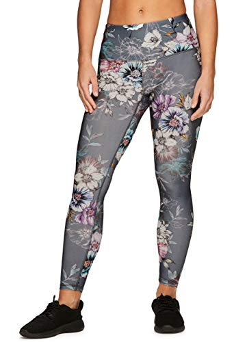 RBX Active Women's Floral Print Running Workout Yoga Leggings S19 Grey ()