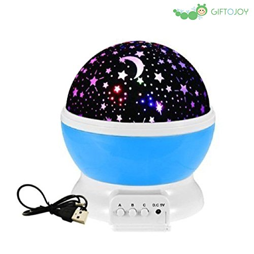 giftojoy Romantic Night Lamp with Starry Sky Projection, Bedroom Night Lamp for Kids (Blue)