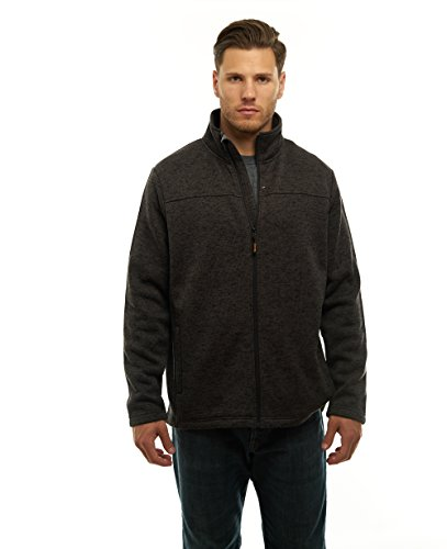 TrailCrest Mens Unique Speckled Zip Up Sweater Fleece-Heather Knit-Winter/Fall Classic Collection Charcoal Heather Large ()