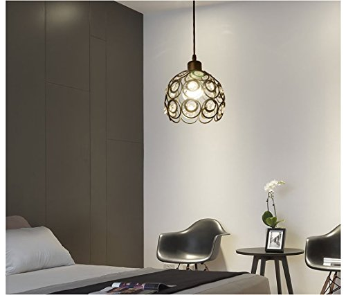 YANCEN Antique Black Metal Crystal Chandelier Lighting Hollow Pendant Light Ceiling Lamp Fixture E26 Bulb Painted Finish for Dining Room Bar Island by YANCEN (Image #1)